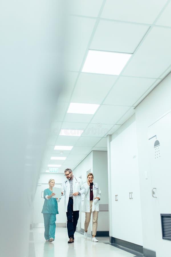Équipe médicale dans le couloir d'hôpital discutant le travail photo libre de droits