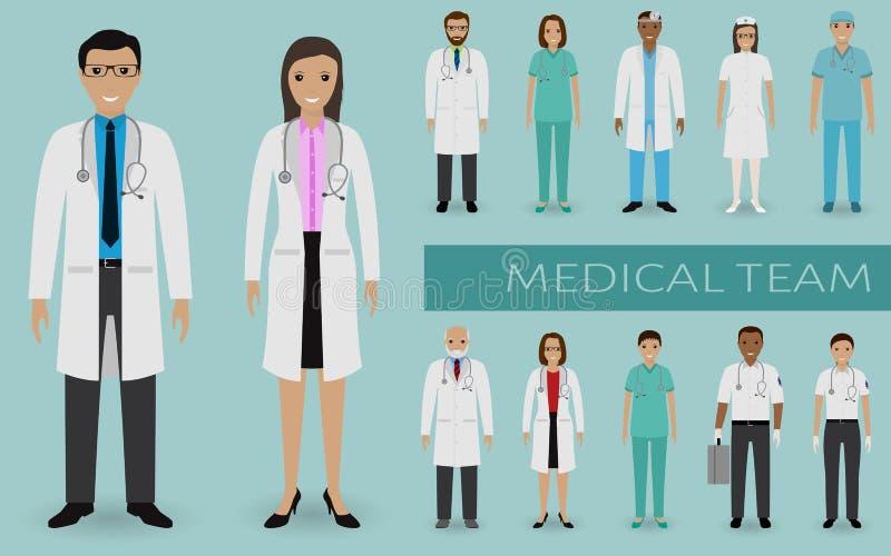 Équipe médicale Médecins et infirmières se tenant ensemble Bannière de Web de médecine Personnel hospitalier illustration de vecteur