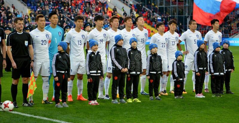 Équipe nationale de la Corée du Sud avant match amical international photographie stock libre de droits