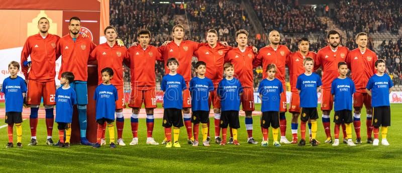 Équipe nationale de la Russie en avant du match 2020 de qualification d'euro de l'UEFA Belgique contre la Russie à Bruxelles photographie stock