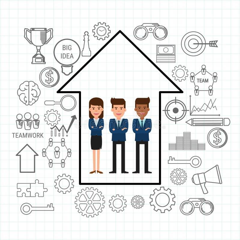 Équipe réussie d'affaires avec la flèche de croissance et icônes réglées Concept de travail d'équipe Style plat de conception illustration de vecteur