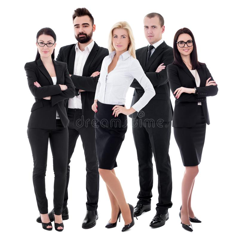 Équipe réussie - jeunes hommes d'affaires dans les costumes noirs d'isolement sur le blanc photos stock