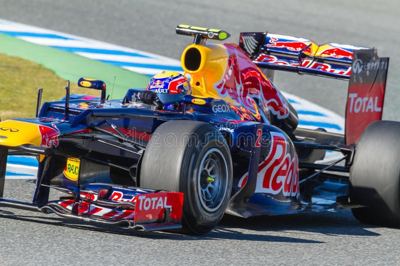 Équipe Red Bull F1, repère Webber, 2012 photographie stock