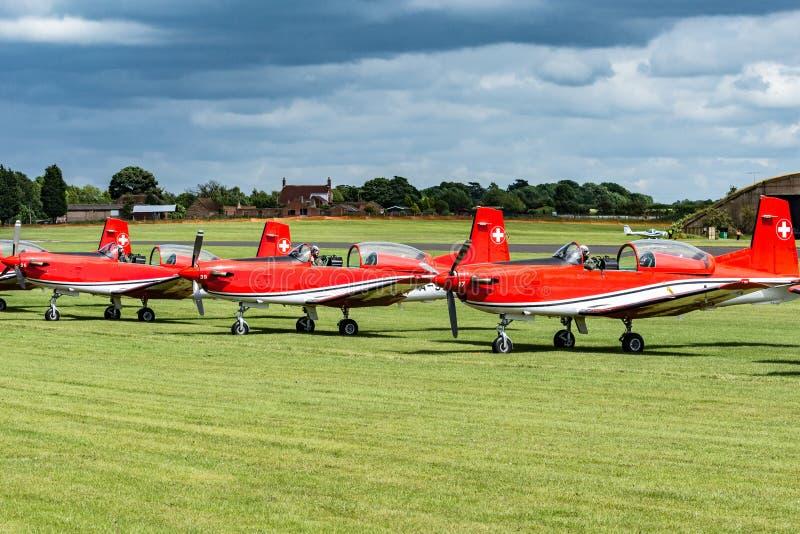 Équipe suisse de l'Armée de l'Air PC-7 photo stock