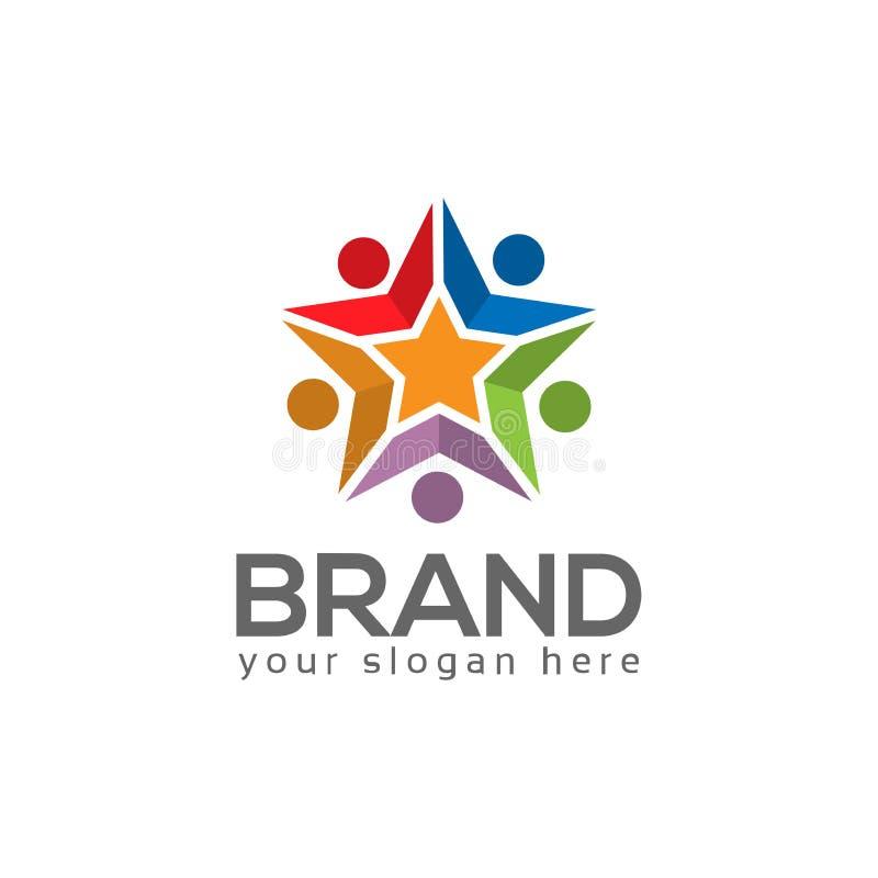 Équipe travaillant ensemble Groupe de personnes Team le travail Vecteur de logo illustration libre de droits