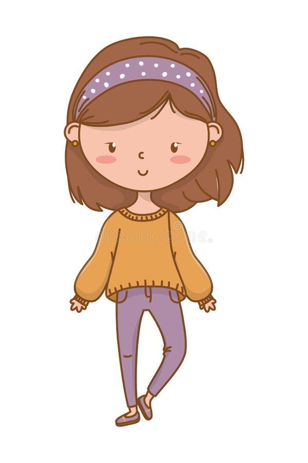 Équipement élégant de bande dessinée mignonne de fille illustration de vecteur