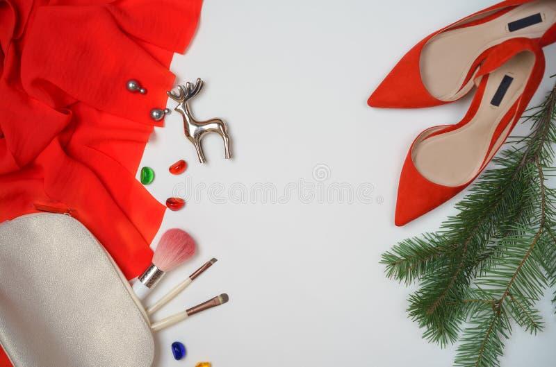 Équipement élégant femelle de mode d'accessoires de configuration plate réglé : tissu élégant, arbre de sapin de branches de bouc images libres de droits