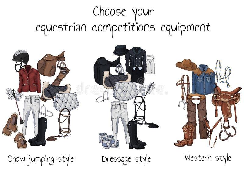 Équipement équestre de concours illustration libre de droits