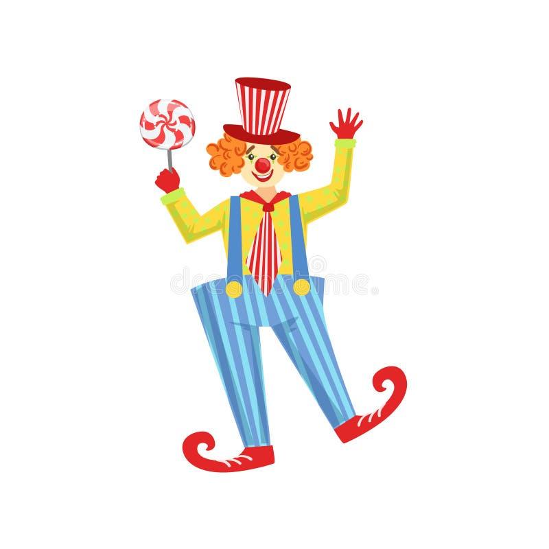 Équipement amical coloré de classique de With Lollypop In de clown illustration libre de droits