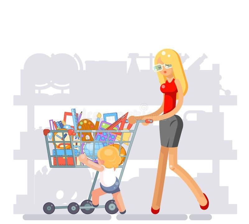 Équipement de achat de parent de mère pour l'illustration plate de vecteur de conception d'école d'enfant illustration stock