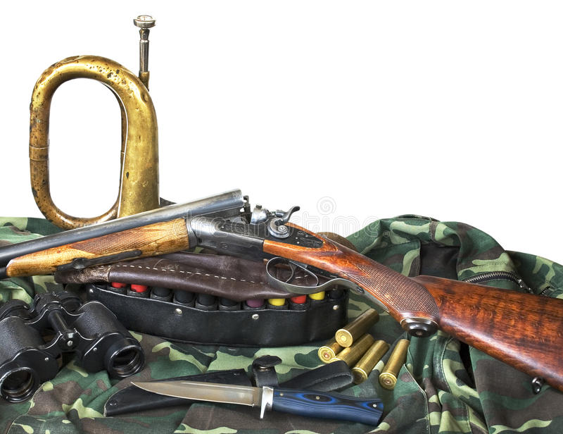 Équipement de chasse sur le fond blanc image libre de droits