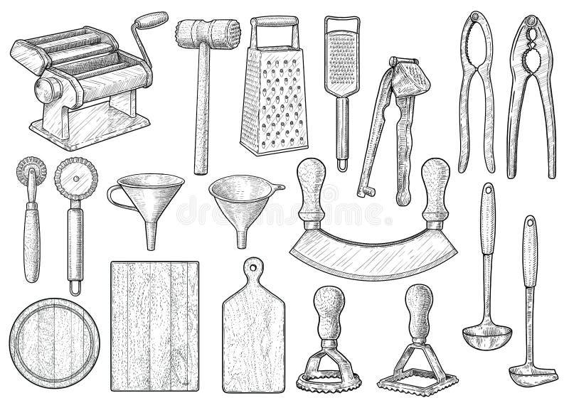 Équipement de cuisine, ustensile, illustration d'accessoires, dessin, gravure, encre, schéma, vecteur illustration de vecteur