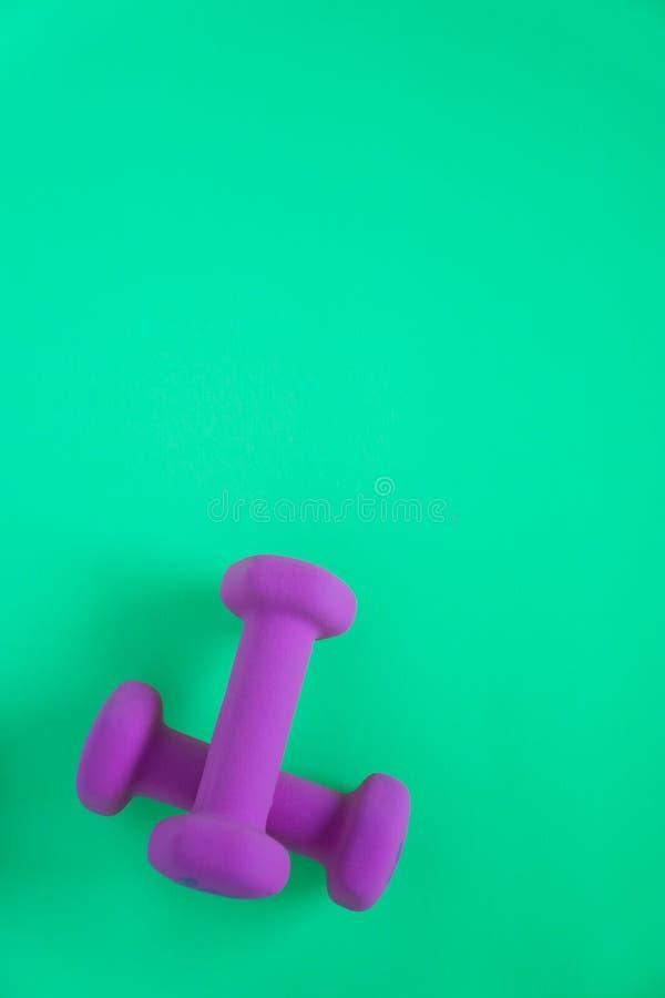 Équipement de forme physique avec les haltères pourpres des poids des femmes d'isolement sur un fond de vert de sarcelle d'hiver  photographie stock