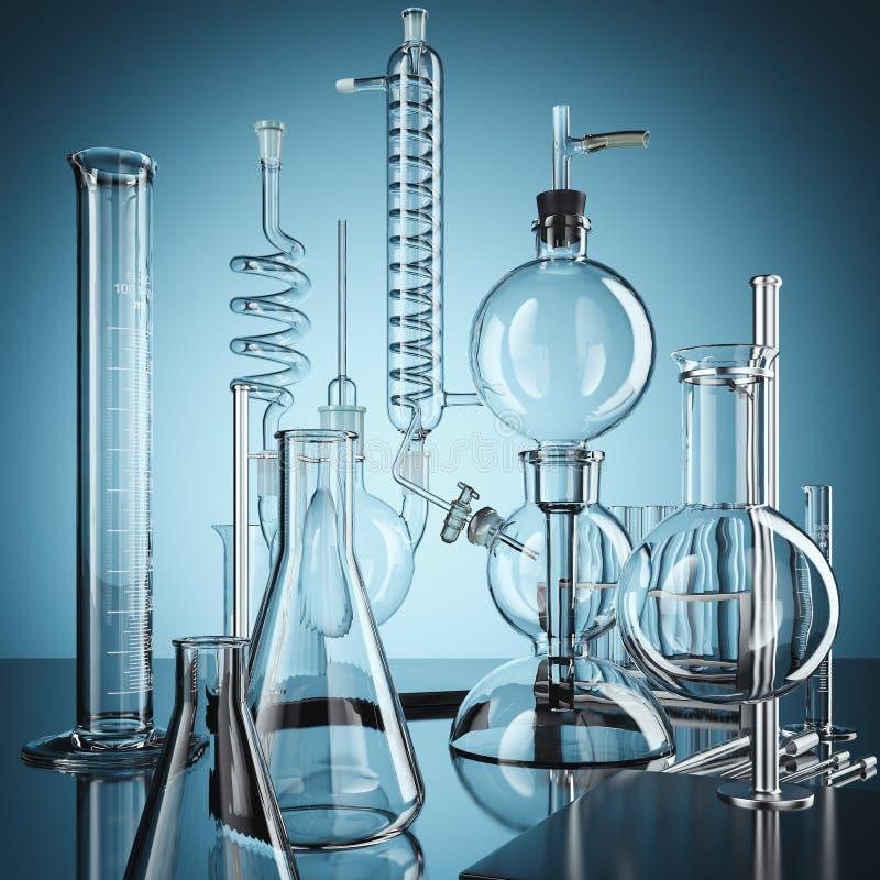 Équipement de laboratoire en verre de chimie rendu 3d illustration stock