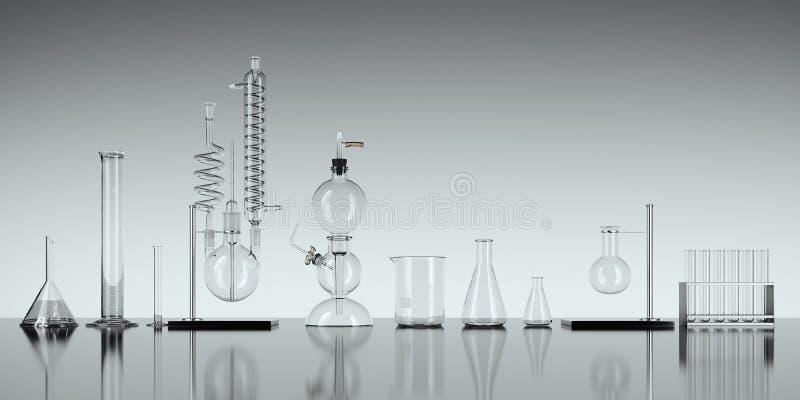 Équipement de laboratoire en verre de chimie sur le fond blanc rendu 3d illustration libre de droits