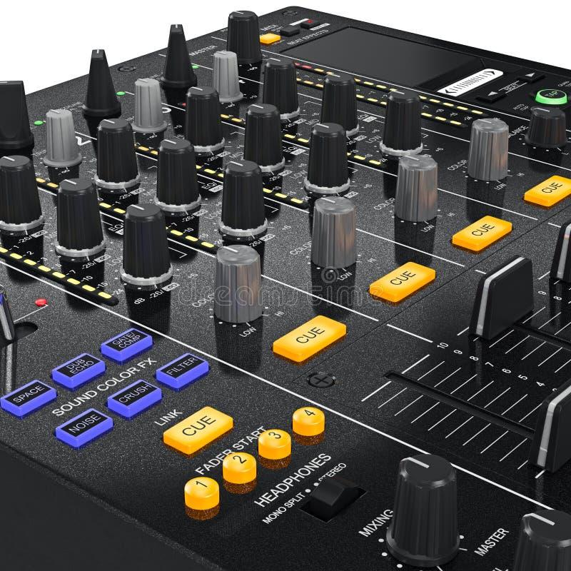 Équipement de mélangeur du DJ de musique, vue bourdonnée illustration libre de droits