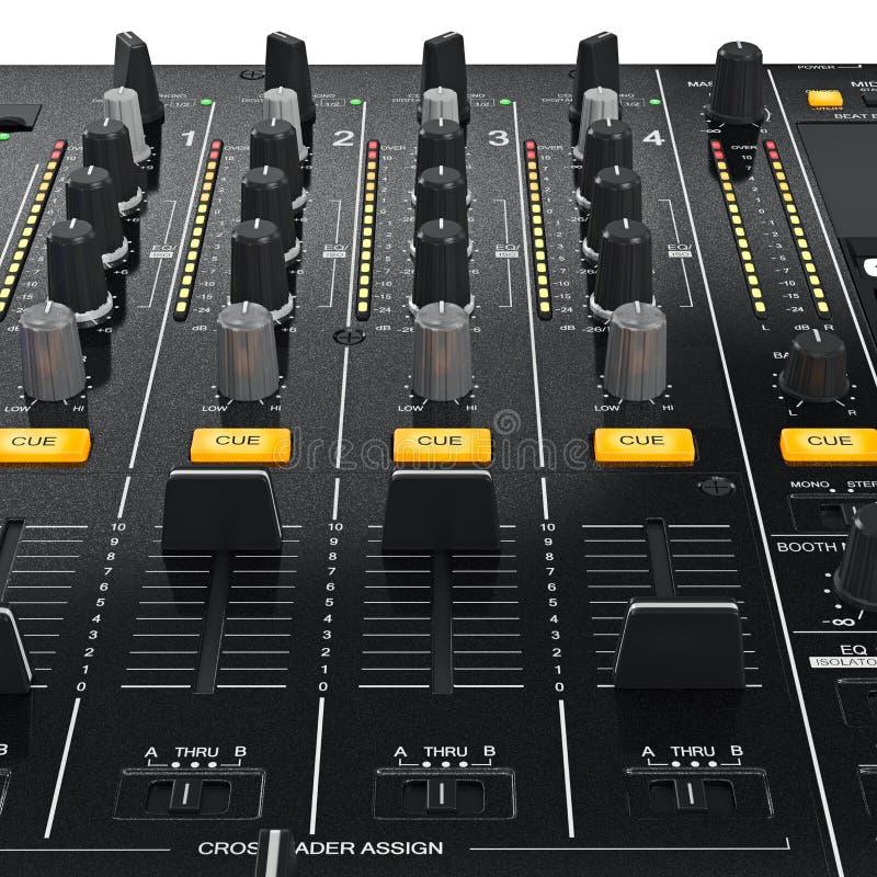 Équipement de mélangeur du DJ de panneau de commande, vue étroite illustration de vecteur