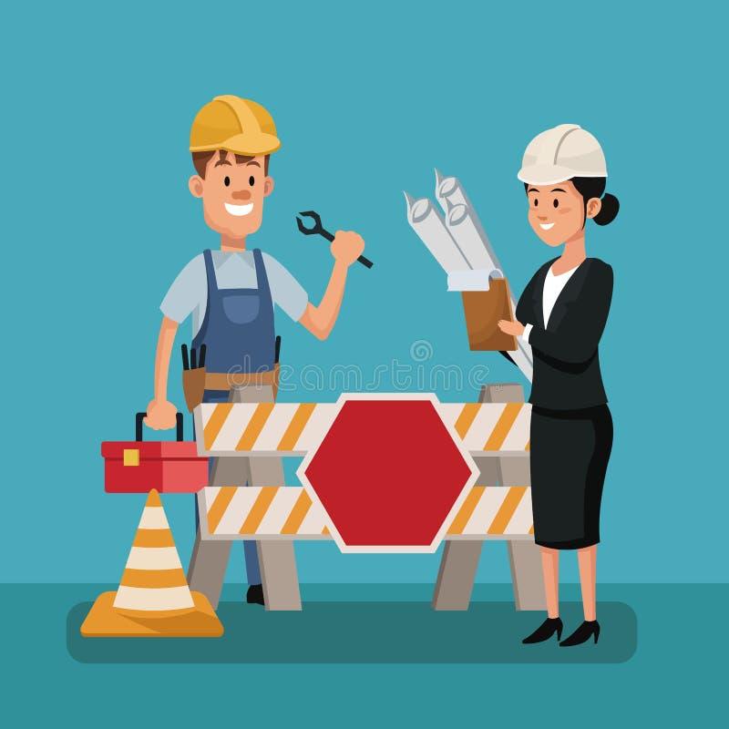 Équipement de modèle de construction de travailleur de patron de personnes de Fête du travail illustration stock