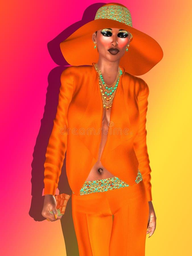 Équipement de mode d'orange navel illustration libre de droits