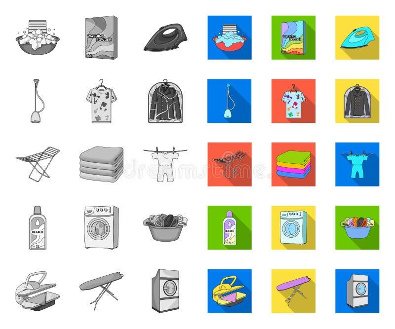 Équipement de nettoyage à sec mono, icônes plates dans la collection réglée pour la conception Le lavage et repasser v?tx le Web  illustration stock