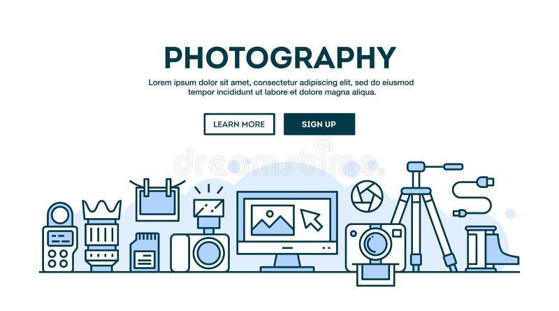 Équipement de photographie, en-tête de concept, ligne mince étable de conception plate illustration libre de droits