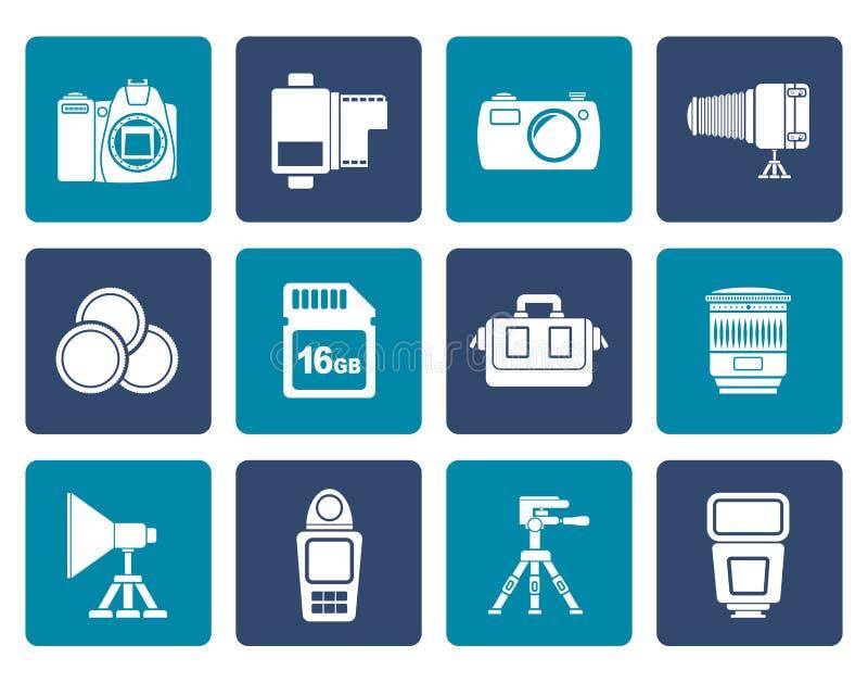 Équipement de photographie et icônes plats d'outils illustration de vecteur