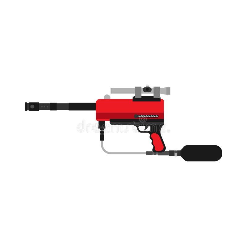 Équipement de sport extrême d'icône de vecteur d'arme à feu de Paintball Le marqueur d'arme d'amusement de bataille de jeu a isol illustration libre de droits