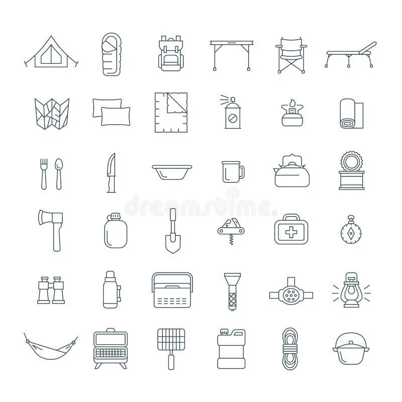 Équipement de touristes pour augmenter des icônes d'ensemble réglées illustration de vecteur