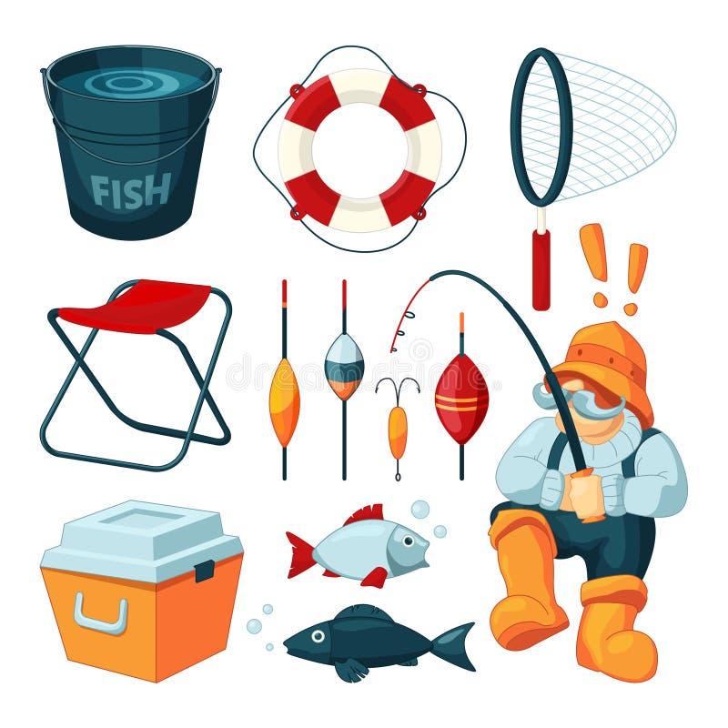 Équipement différent pour la pêche Pêcheur avec la tige Vecteur illustration libre de droits