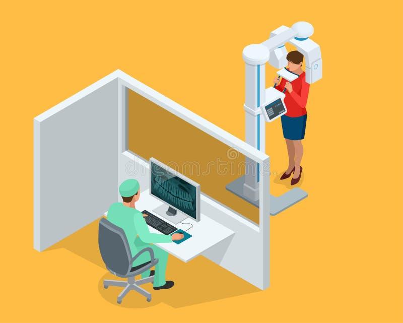 Équipement, docteur dentaire et femme panoramiques de radiographie de détail isométrique d'isolement sur le blanc illustration de vecteur