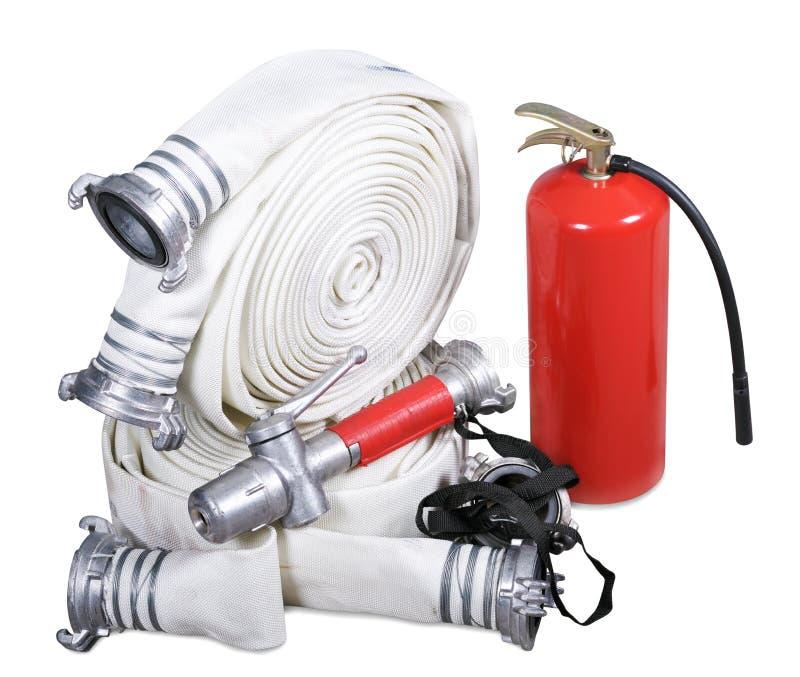 Équipement du feu sur un fond blanc images stock
