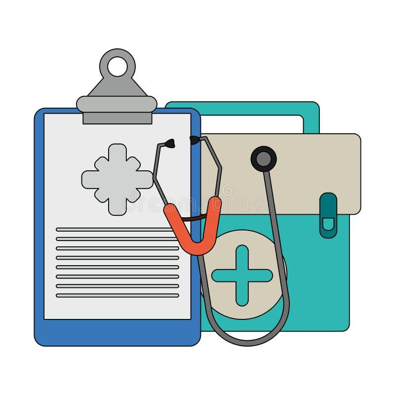 Équipement et approvisionnements médicaux de soins de santé illustration libre de droits