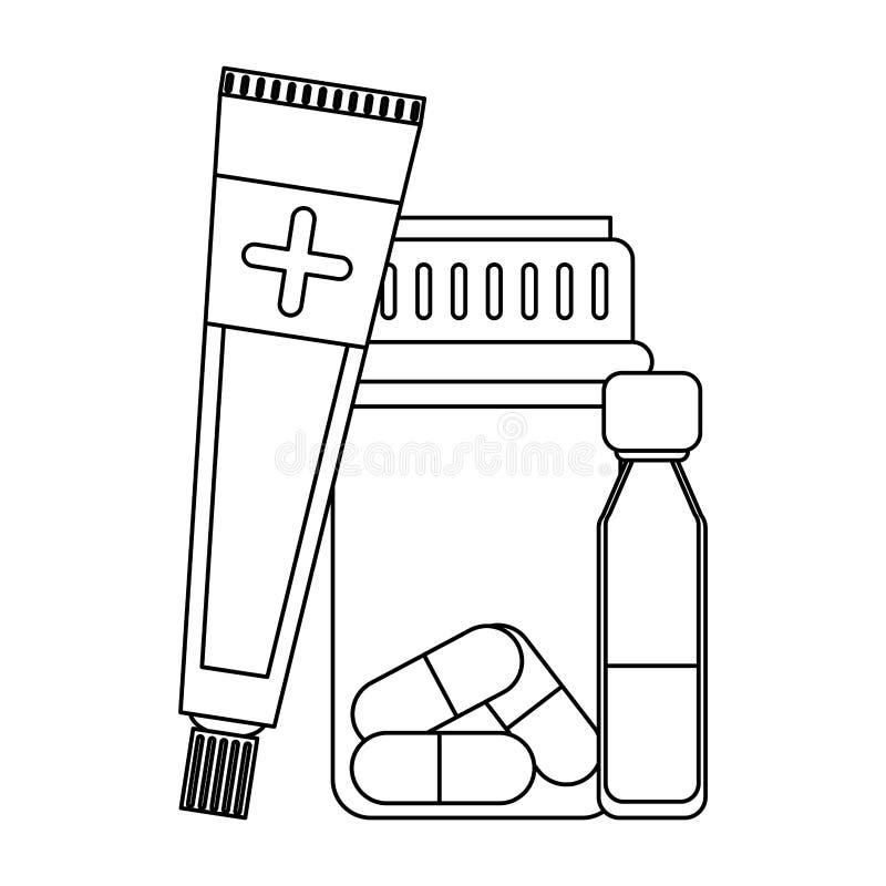Équipement et approvisionnements médicaux de soins de santé en noir et blanc illustration libre de droits