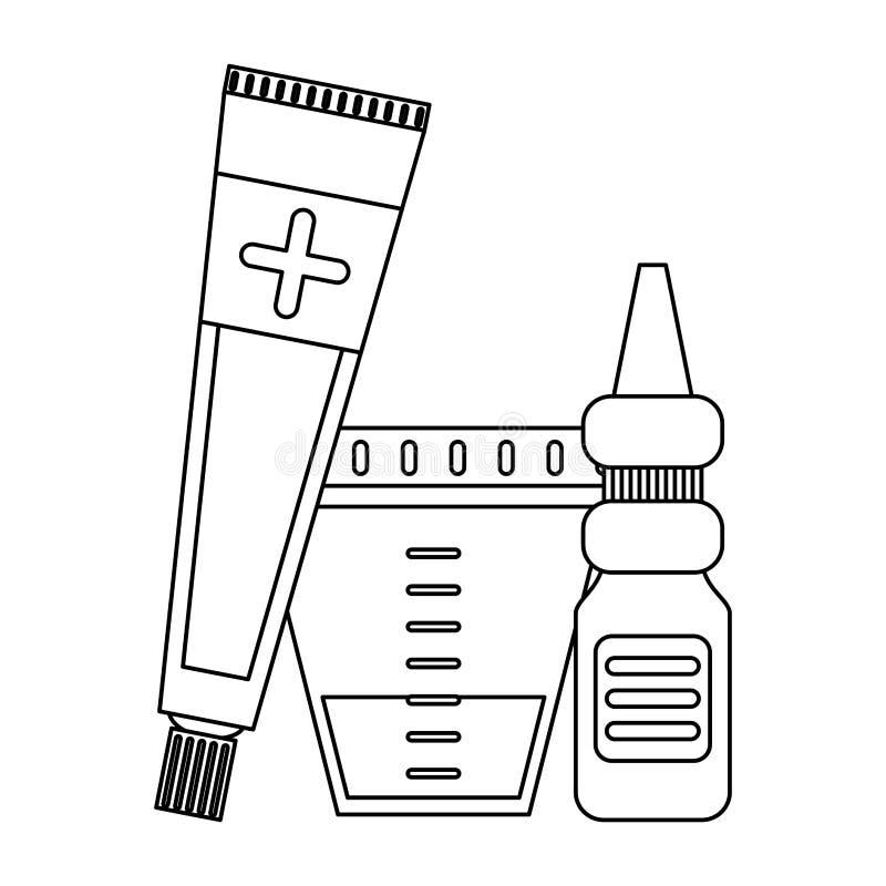 Équipement et approvisionnements médicaux de soins de santé en noir et blanc illustration de vecteur