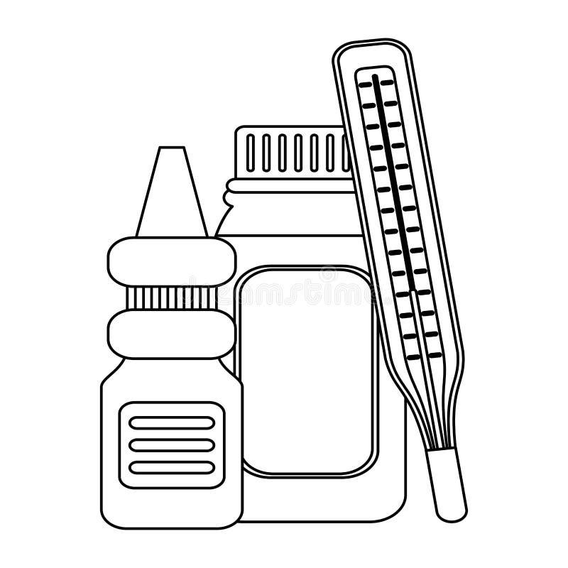 Équipement et approvisionnements médicaux de soins de santé en noir et blanc illustration stock