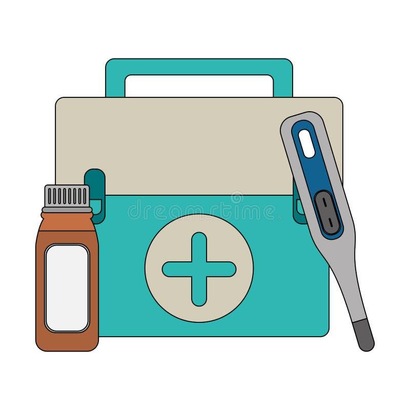 Équipement et approvisionnements médicaux de soins de santé illustration stock