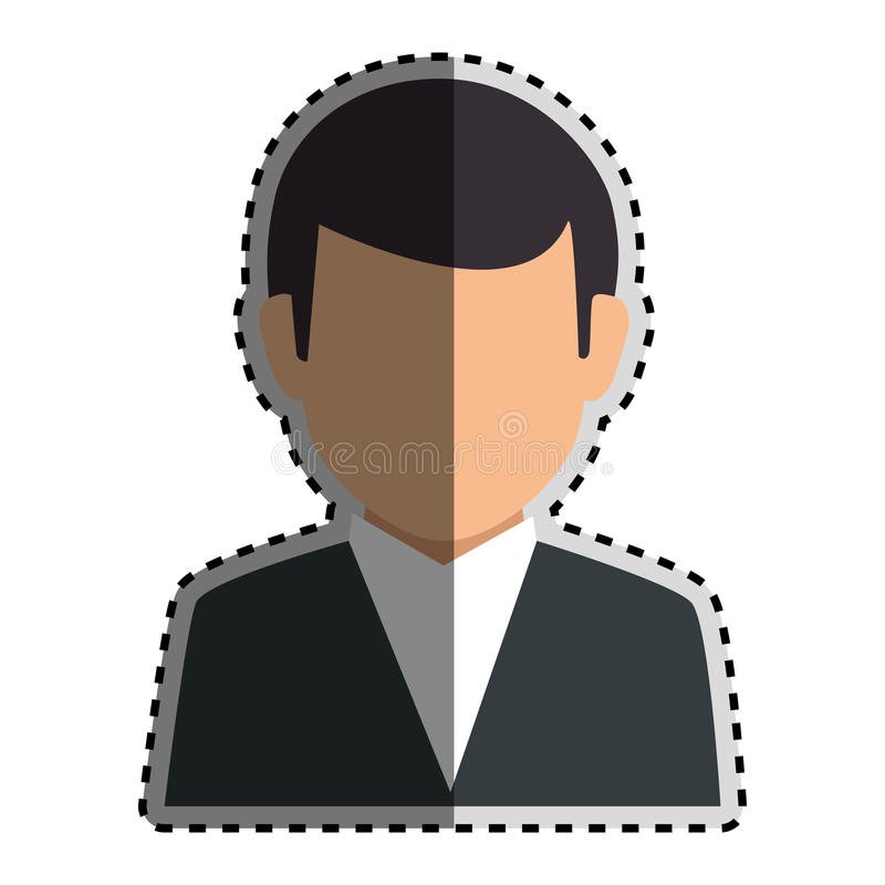 Équipement formel de silhouette d'autocollant de demi homme sans visage coloré de corps illustration libre de droits