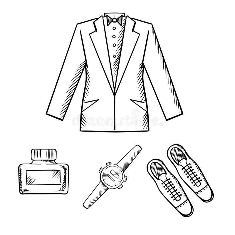 Équipement formel masculin avec la veste, chaussures, montre illustration de vecteur