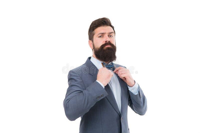 Équipement formel Prenez grand soin de costume Elegancy et style masculin Concept de mode Posture sûre Homme d'affaires ou hôte photographie stock libre de droits