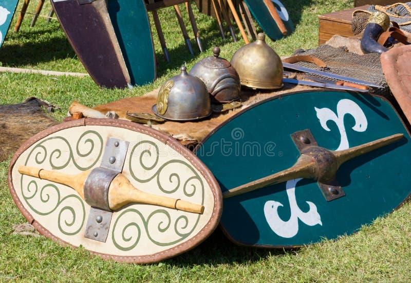 Équipement gallique antique de bataille photos stock