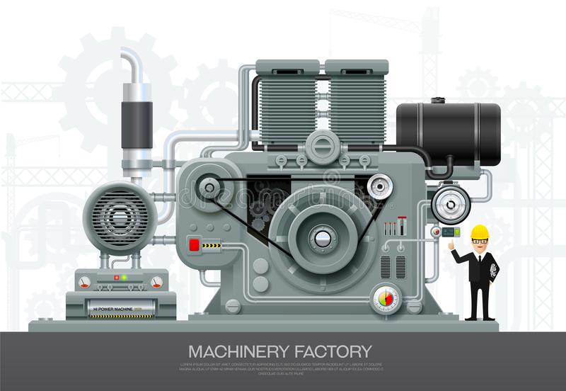 Équipement industriel d'implantation industrielle de machine machinant le VE illustration de vecteur