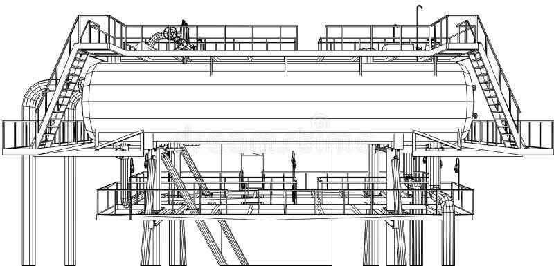 équipement industriel de pétrole et de gaz de Fil-cadre illustration stock