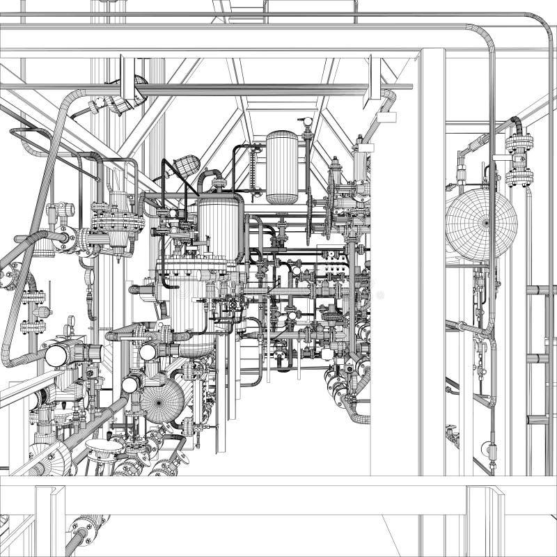 Équipement industriel. Fil-cadre  illustration stock