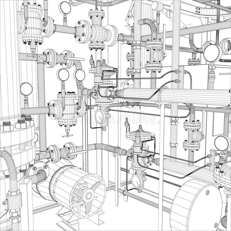 Équipement industriel. Fil-cadre  illustration de vecteur