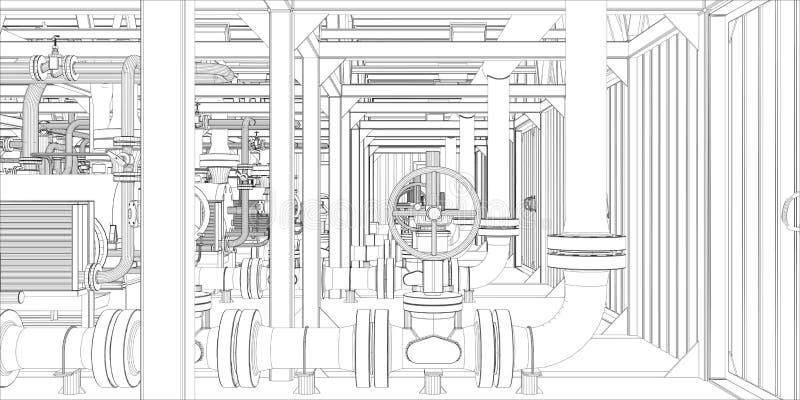 Équipement industriel. le Fil-cadre 3d rendent illustration stock