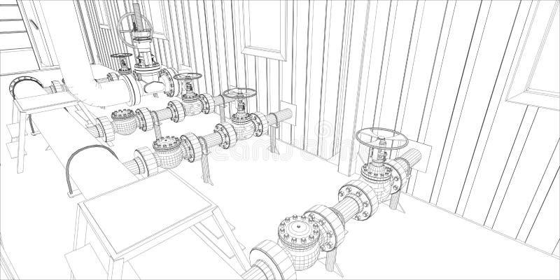 Équipement industriel. le Fil-cadre 3d rendent illustration libre de droits