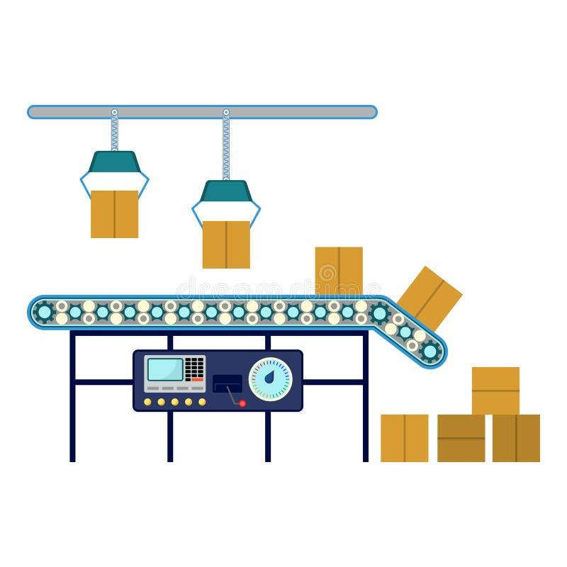 Équipement industriel pour les boîtes de empaquetage, convoyeur machines de canalisation illustration libre de droits