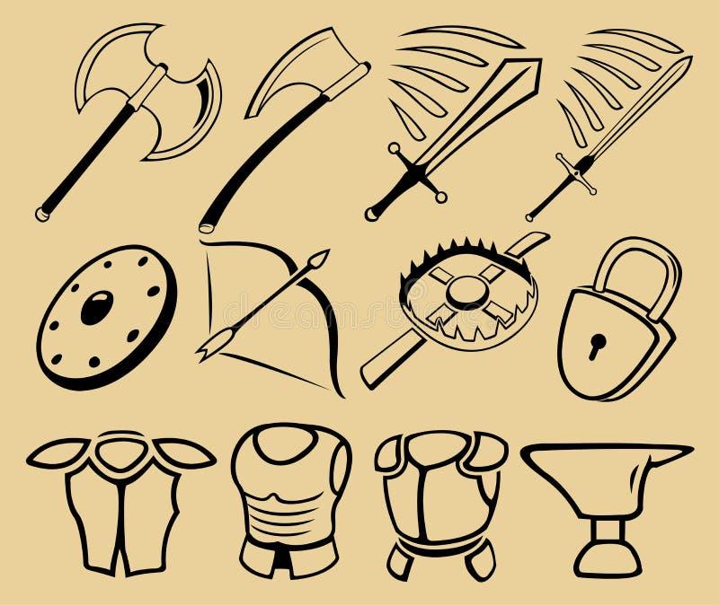 Équipement médiéval illustration de vecteur