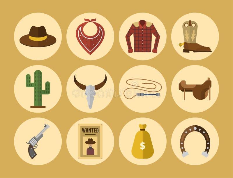 Équipement occidental sauvage de rodéo d'icônes de cowboy et illustration occidentale sauvage occidentale différente de beaucoup  illustration de vecteur