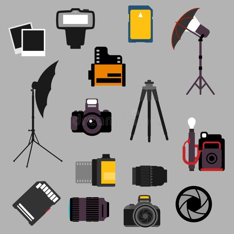 Équipement photographique et icônes plates de dispositifs illustration de vecteur